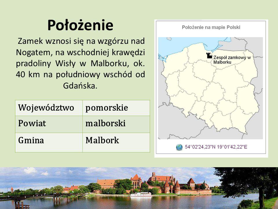Położenie Zamek wznosi się na wzgórzu nad Nogatem, na wschodniej krawędzi pradoliny Wisły w Malborku, ok. 40 km na południowy wschód od Gdańska. Wojew