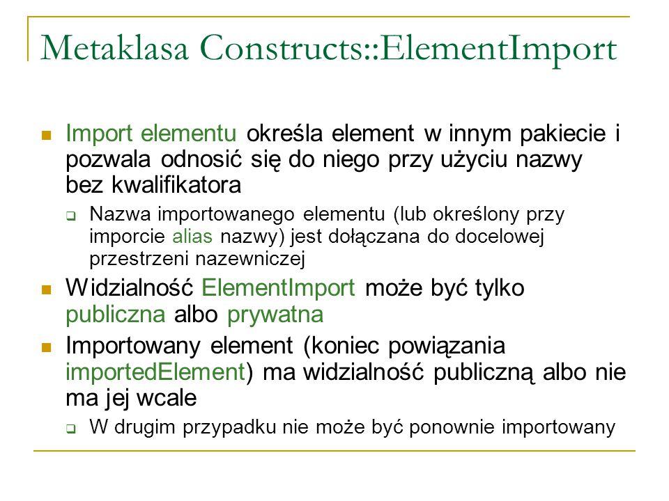 Metaklasa Constructs::ElementImport Import elementu określa element w innym pakiecie i pozwala odnosić się do niego przy użyciu nazwy bez kwalifikator