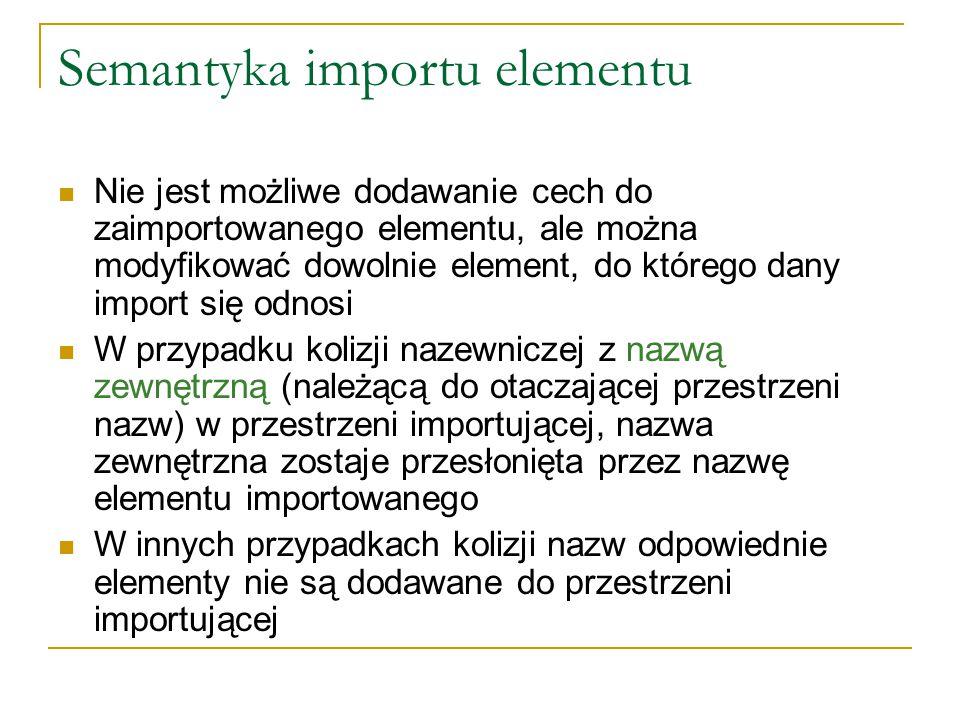 Semantyka importu elementu Nie jest możliwe dodawanie cech do zaimportowanego elementu, ale można modyfikować dowolnie element, do którego dany import