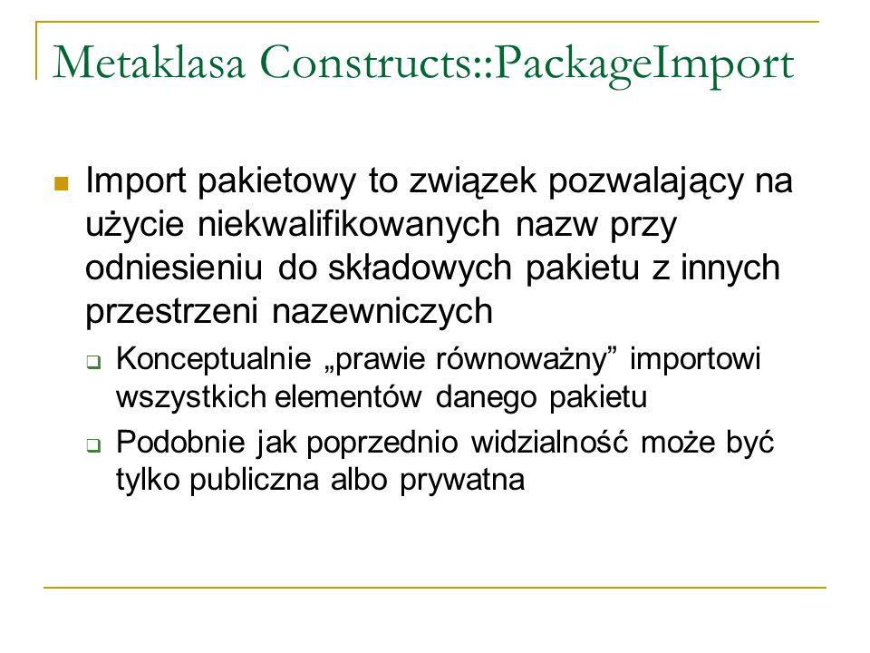 Metaklasa Constructs::PackageImport Import pakietowy to związek pozwalający na użycie niekwalifikowanych nazw przy odniesieniu do składowych pakietu z
