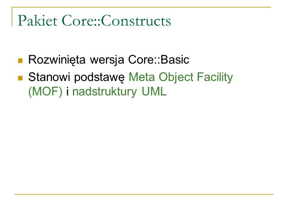 Pakiet Core::Constructs Rozwinięta wersja Core::Basic Stanowi podstawę Meta Object Facility (MOF) i nadstruktury UML