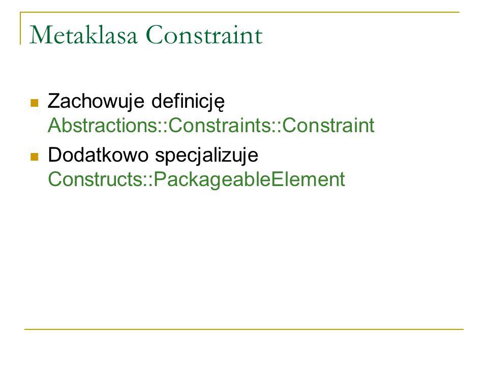 Metaklasa Constraint Zachowuje definicję Abstractions::Constraints::Constraint Dodatkowo specjalizuje Constructs::PackageableElement