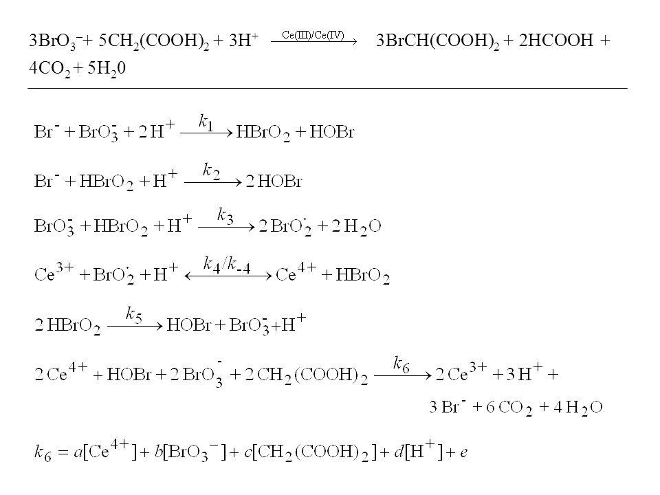 3BrO 3 – + 5CH 2 (COOH) 2 + 3H + 3BrCH(COOH) 2 + 2HCOOH + 4CO 2 + 5H 2 0