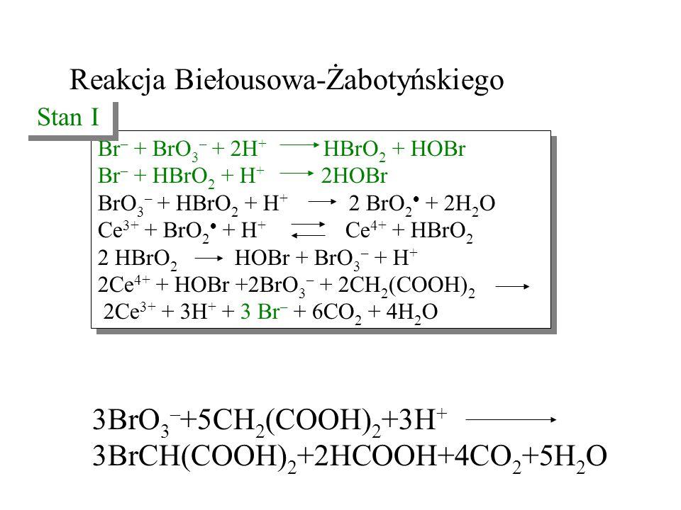 Reakcja Biełousowa-Żabotyńskiego Br – + BrO 3 – + 2H + HBrO 2 + HOBr Br – + HBrO 2 + H + 2HOBr BrO 3 – + HBrO 2 + H + 2 BrO 2  + 2H 2 O Ce 3+ + BrO 2