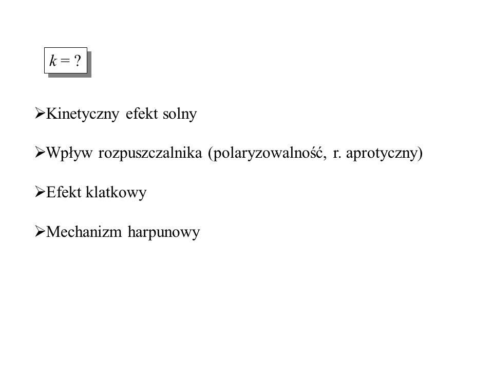 Kinetyczny efekt solny  Wpływ rozpuszczalnika (polaryzowalność, r. aprotyczny)  Efekt klatkowy  Mechanizm harpunowy k = ?