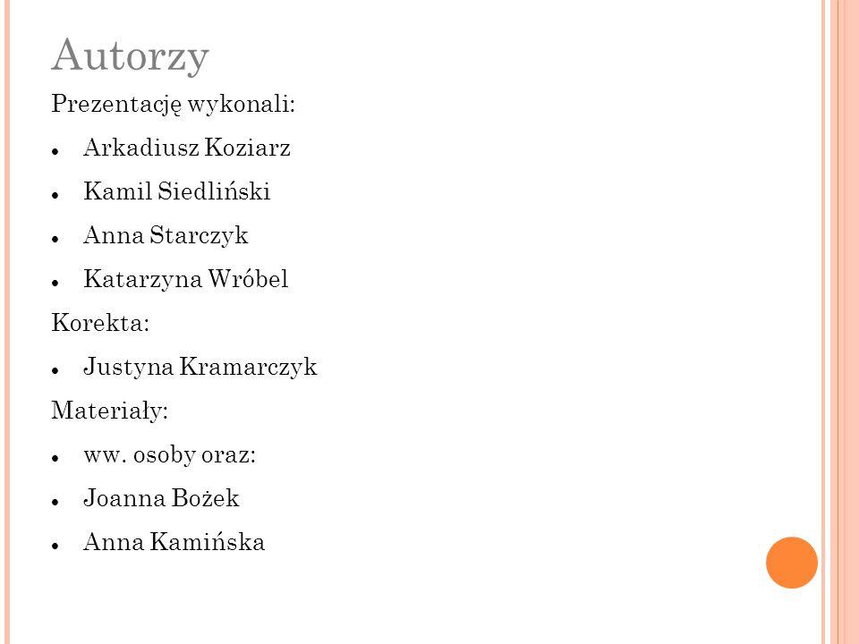 Autorzy Prezentację wykonali: Arkadiusz Koziarz Kamil Siedliński Anna Starczyk Katarzyna Wróbel Korekta: Justyna Kramarczyk Materiały: ww. osoby oraz: