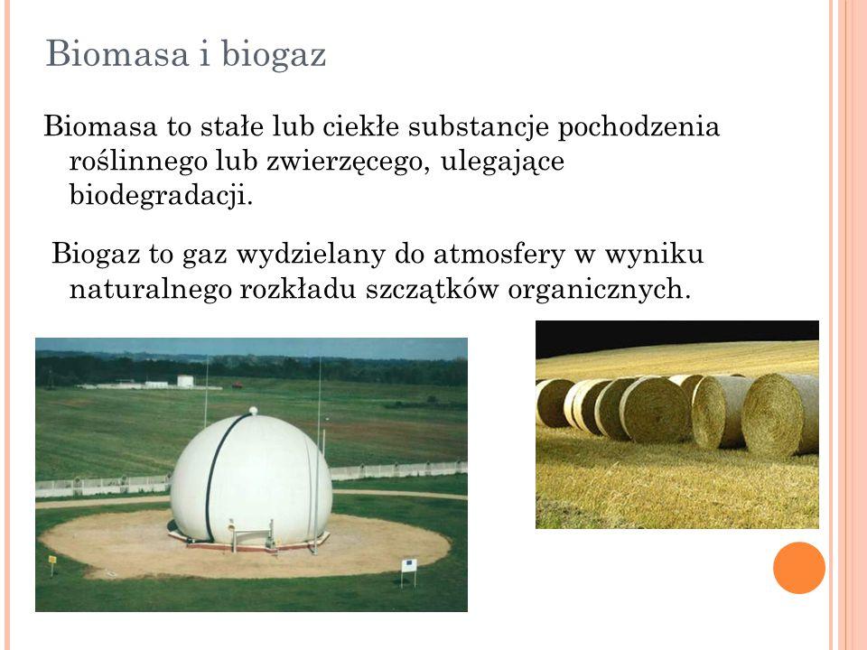 Biomasa i biogaz Biomasa to stałe lub ciekłe substancje pochodzenia roślinnego lub zwierzęcego, ulegające biodegradacji. Biogaz to gaz wydzielany do a
