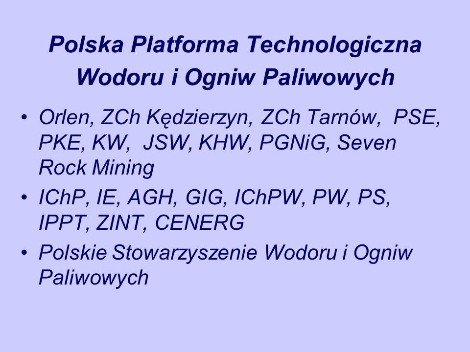 Polska Platforma Technologiczna Wodoru i Ogniw Paliwowych Orlen, ZCh Kędzierzyn, ZCh Tarnów, PSE, PKE, KW, JSW, KHW, PGNiG, Seven Rock Mining IChP, IE