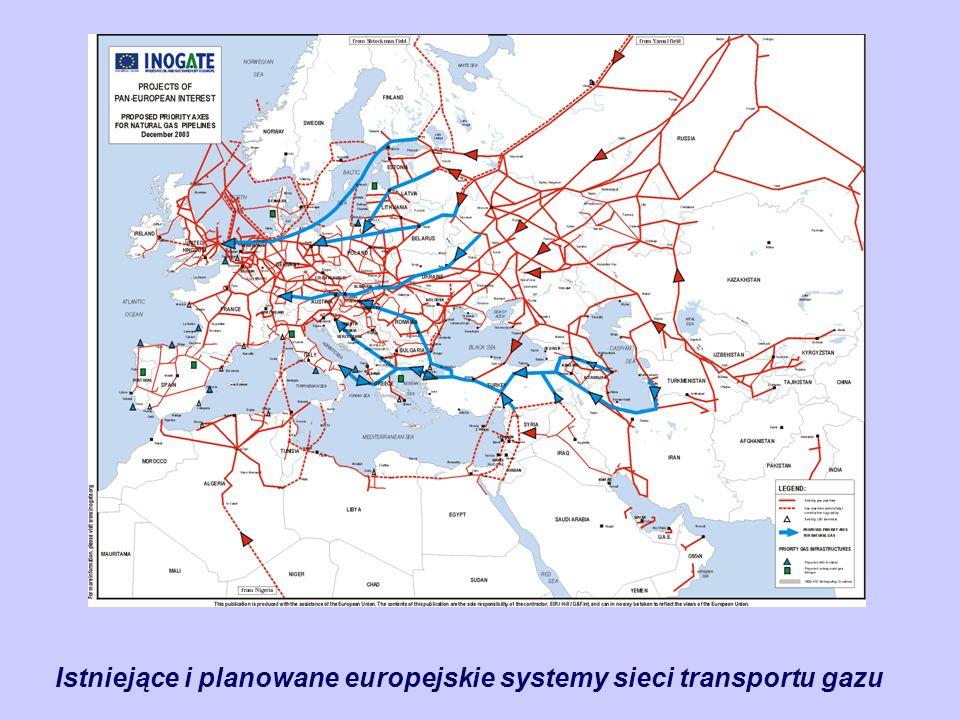 Istniejące i planowane europejskie systemy sieci transportu gazu