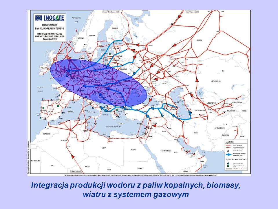 Integracja produkcji wodoru z paliw kopalnych, biomasy, wiatru z systemem gazowym