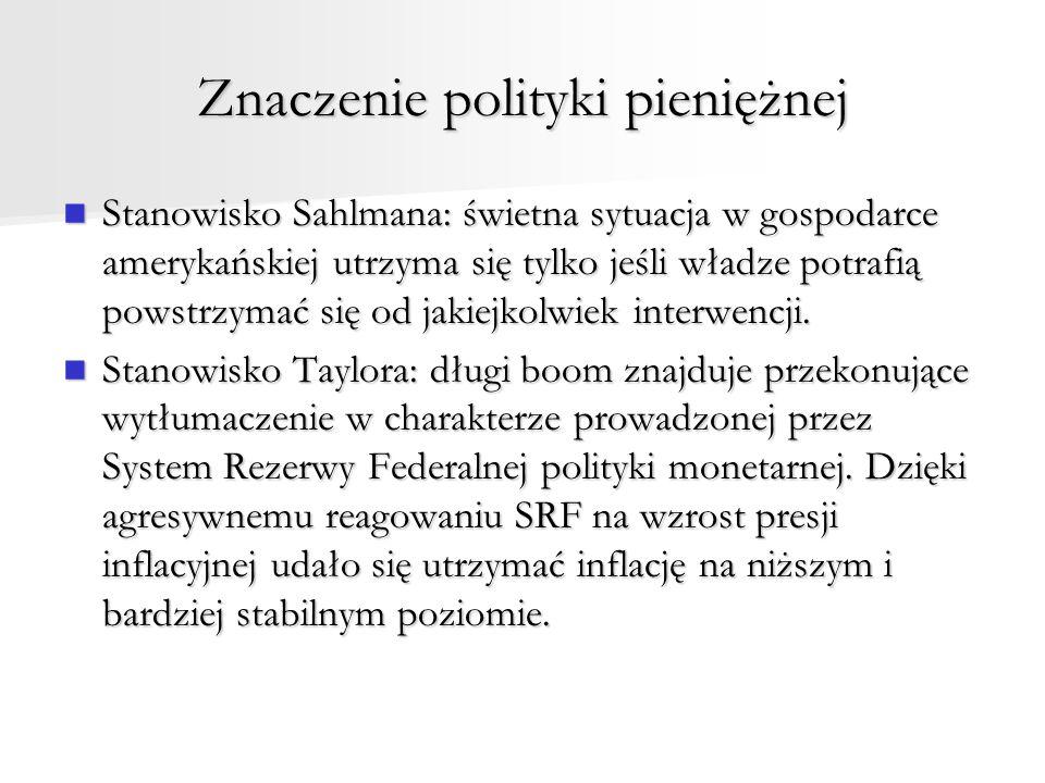 Znaczenie polityki pieniężnej Stanowisko Sahlmana: świetna sytuacja w gospodarce amerykańskiej utrzyma się tylko jeśli władze potrafią powstrzymać się od jakiejkolwiek interwencji.