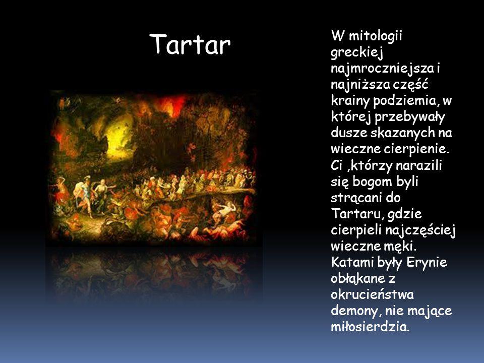 Tartar Ci,którzy narazili się bogom byli strącani do Tartaru, gdzie cierpieli najczęściej wieczne męki. Katami były Erynie obłąkane z okrucieństwa dem