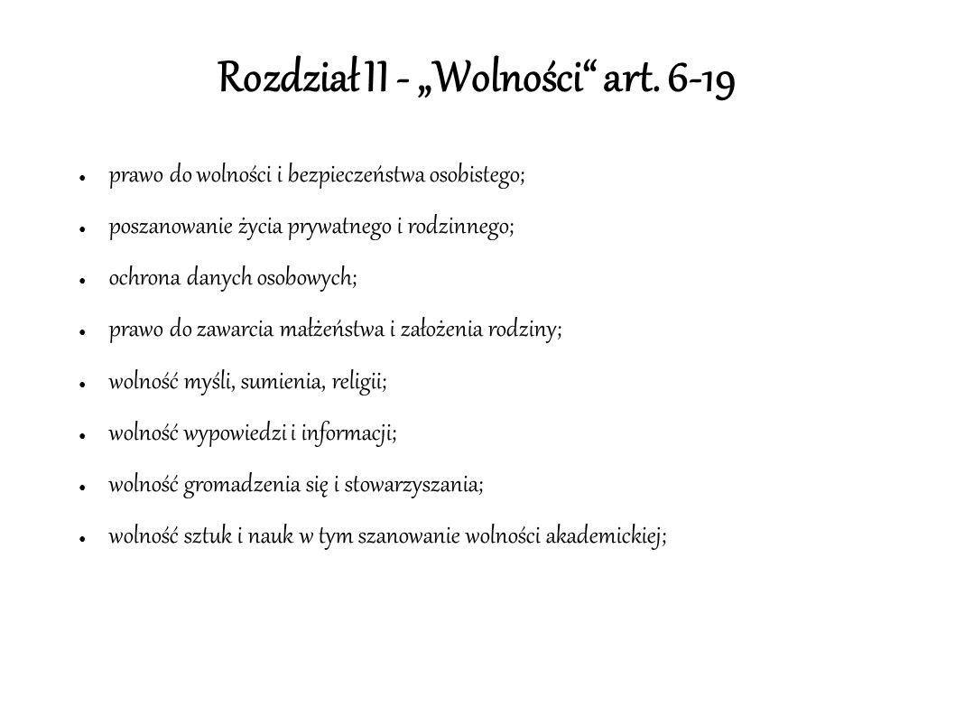 """Rozdział II - """"Wolności art."""