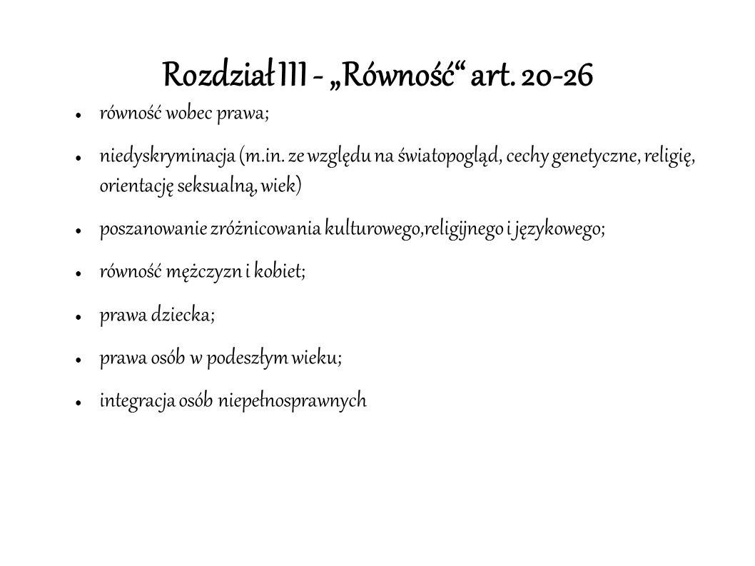 """Rozdział III - """"Równość"""" art. 20-26 ● równość wobec prawa; ● niedyskryminacja (m.in. ze względu na światopogląd, cechy genetyczne, religię, orientację"""
