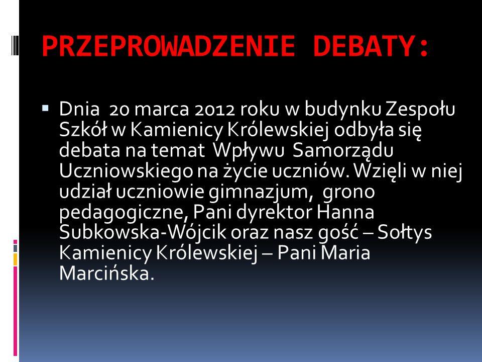 PRZEPROWADZENIE DEBATY:  Dnia 20 marca 2012 roku w budynku Zespołu Szkół w Kamienicy Królewskiej odbyła się debata na temat Wpływu Samorządu Uczniowskiego na życie uczniów.