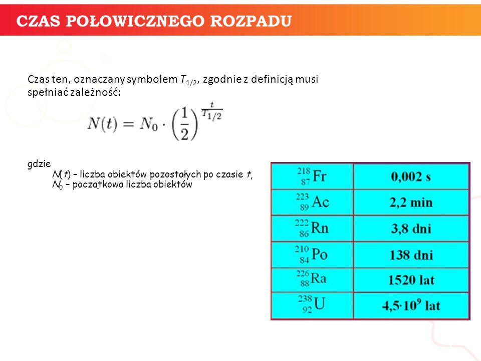 CZAS POŁOWICZNEGO ROZPADU informatyka + 5 Czas ten, oznaczany symbolem T 1/2, zgodnie z definicją musi spełniać zależność: gdzie N(t) – liczba obiektów pozostałych po czasie t, N 0 – początkowa liczba obiektów