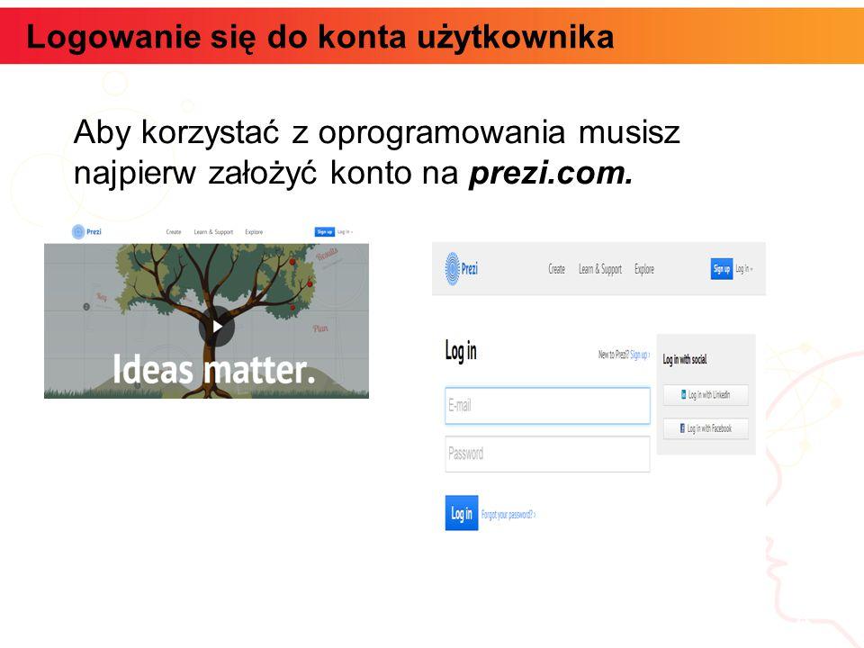 Logowanie się do konta użytkownika informatyka + 4 Aby korzystać z oprogramowania musisz najpierw założyć konto na prezi.com.