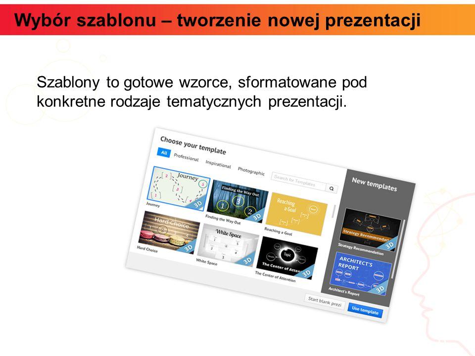 Wybór szablonu – tworzenie nowej prezentacji informatyka + 6 Szablony to gotowe wzorce, sformatowane pod konkretne rodzaje tematycznych prezentacji.
