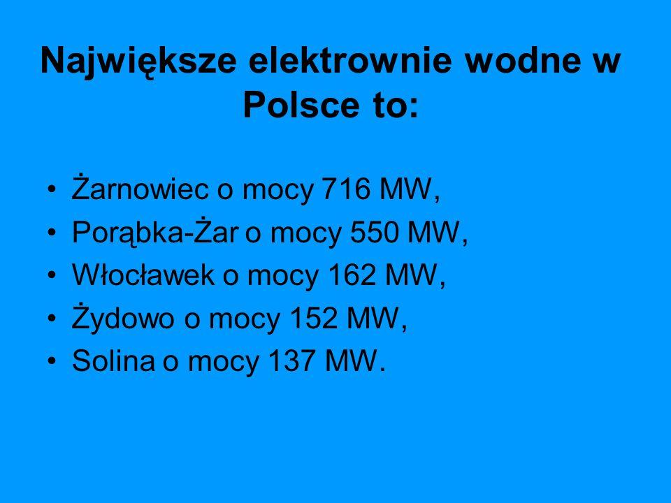 Największe elektrownie wodne w Polsce to: Żarnowiec o mocy 716 MW, Porąbka-Żar o mocy 550 MW, Włocławek o mocy 162 MW, Żydowo o mocy 152 MW, Solina o