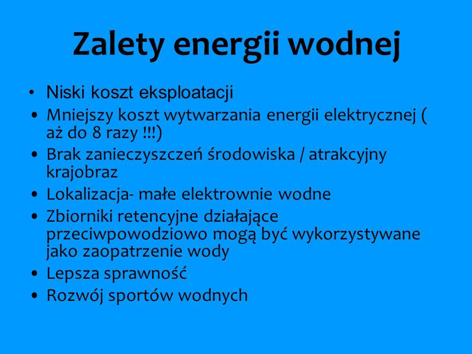 Zalety energii wodnej Niski koszt eksploatacji Mniejszy koszt wytwarzania energii elektrycznej ( aż do 8 razy !!!) Brak zanieczyszczeń środowiska / at