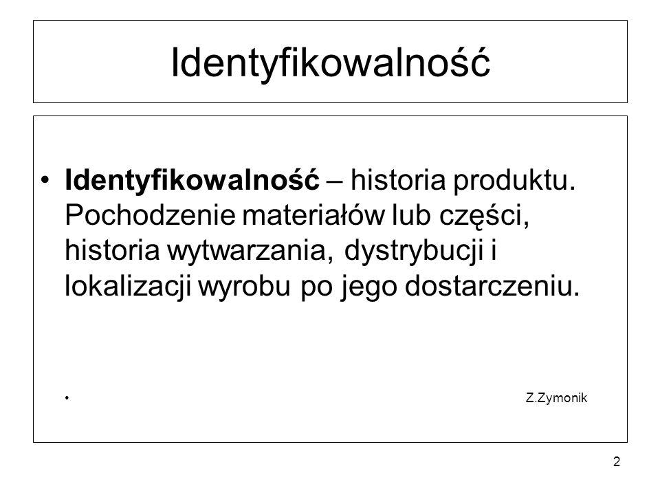 Identyfikowalność Identyfikowalność – historia produktu.