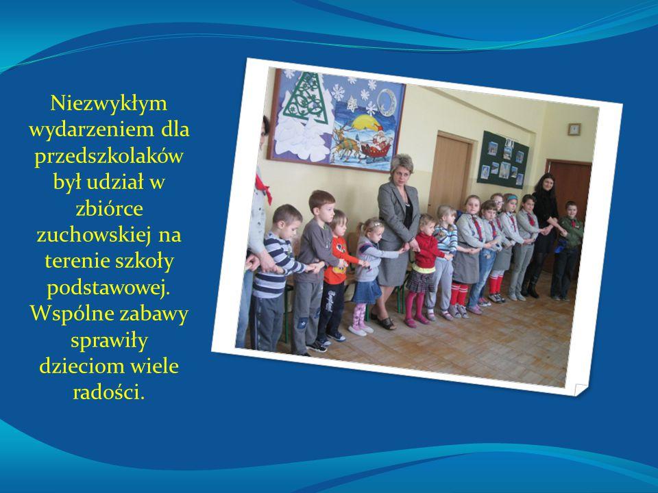Niezwykłym wydarzeniem dla przedszkolaków był udział w zbiórce zuchowskiej na terenie szkoły podstawowej. Wspólne zabawy sprawiły dzieciom wiele radoś
