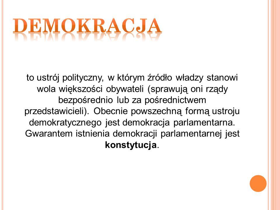 to ustrój polityczny, w którym źródło władzy stanowi wola większości obywateli (sprawują oni rządy bezpośrednio lub za pośrednictwem przedstawicieli).