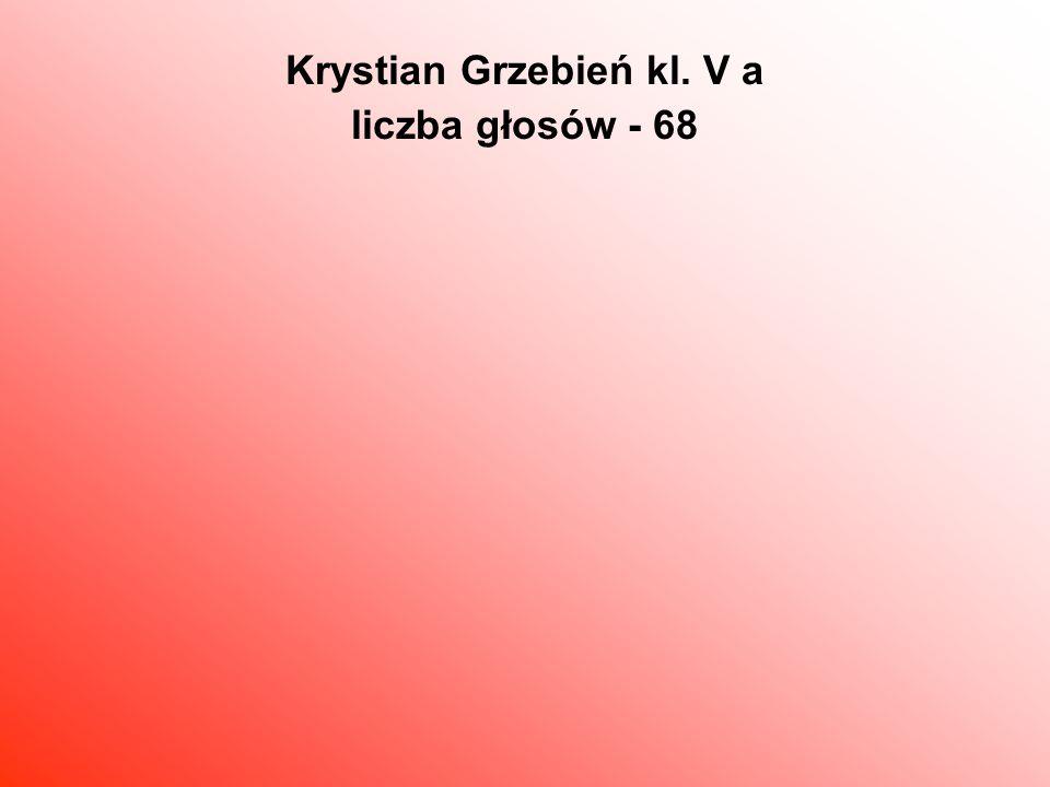 Krystian Grzebień kl. V a liczba głosów - 68