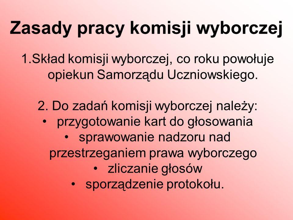 1.Skład komisji wyborczej, co roku powołuje opiekun Samorządu Uczniowskiego.