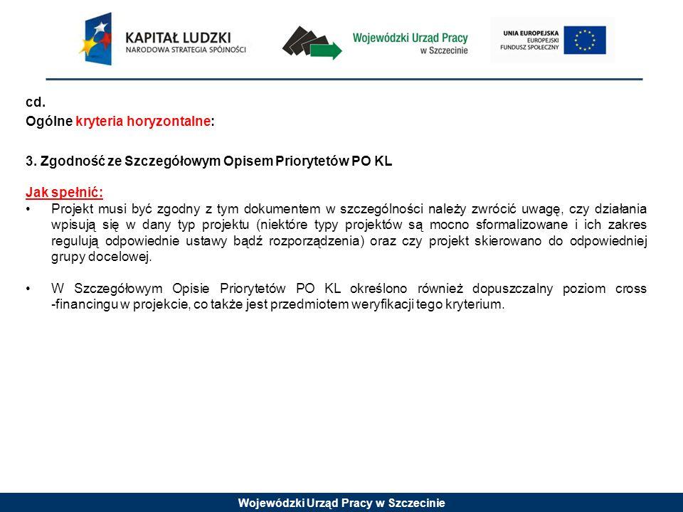 Wojewódzki Urząd Pracy w Szczecinie cd. Ogólne kryteria horyzontalne: 3. Zgodność ze Szczegółowym Opisem Priorytetów PO KL Jak spełnić: Projekt musi b