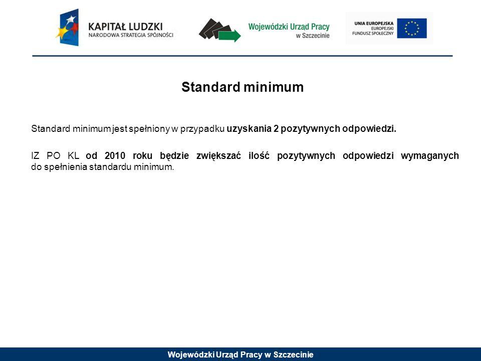 Wojewódzki Urząd Pracy w Szczecinie Standard minimum Standard minimum jest spełniony w przypadku uzyskania 2 pozytywnych odpowiedzi. IZ PO KL od 2010