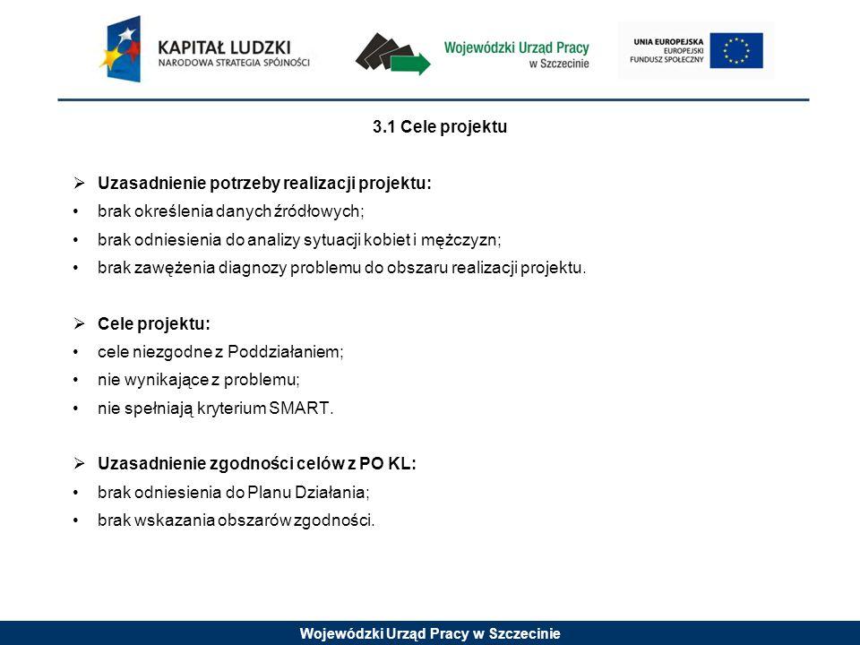 Wojewódzki Urząd Pracy w Szczecinie 3.1 Cele projektu  Uzasadnienie potrzeby realizacji projektu: brak określenia danych źródłowych; brak odniesienia