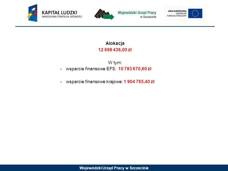 Wojewódzki Urząd Pracy w Szczecinie Alokacja 12 698 436,00 zł W tym: -wsparcie finansowe EFS: 10 793 670,60 zł -wsparcie finansowe krajowe: 1 904 765,