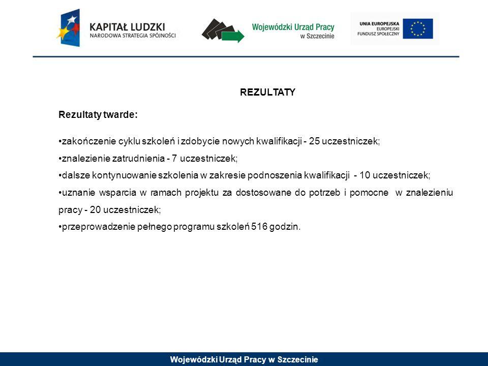 Wojewódzki Urząd Pracy w Szczecinie REZULTATY Rezultaty twarde: zakończenie cyklu szkoleń i zdobycie nowych kwalifikacji - 25 uczestniczek; znalezienie zatrudnienia - 7 uczestniczek; dalsze kontynuowanie szkolenia w zakresie podnoszenia kwalifikacji - 10 uczestniczek; uznanie wsparcia w ramach projektu za dostosowane do potrzeb i pomocne w znalezieniu pracy - 20 uczestniczek; przeprowadzenie pełnego programu szkoleń 516 godzin.
