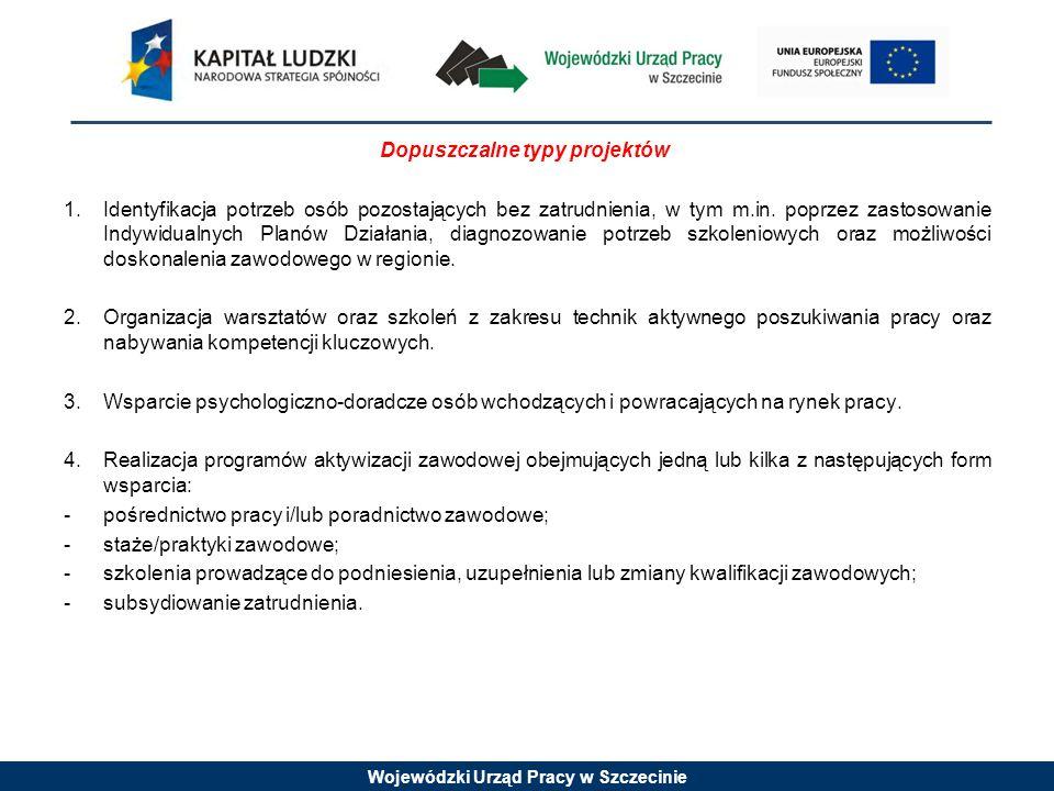Wojewódzki Urząd Pracy w Szczecinie Dopuszczalne typy projektów 1.Identyfikacja potrzeb osób pozostających bez zatrudnienia, w tym m.in. poprzez zasto