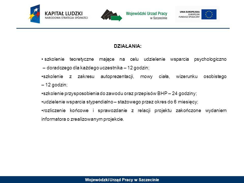 Wojewódzki Urząd Pracy w Szczecinie DZIAŁANIA: szkolenie teoretyczne mające na celu udzielenie wsparcia psychologiczno – doradczego dla każdego uczest