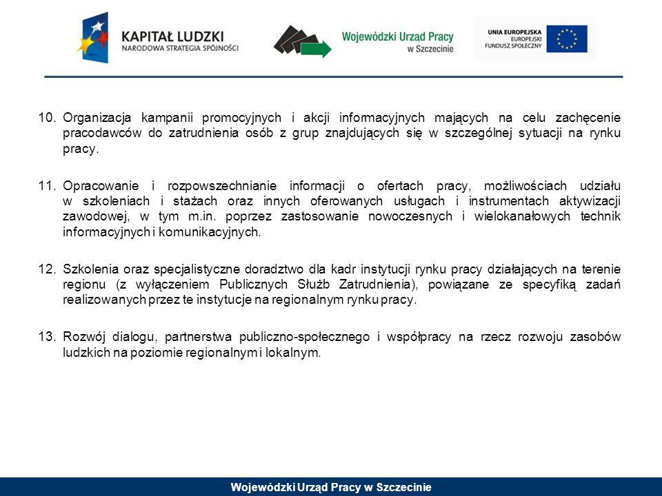 Wojewódzki Urząd Pracy w Szczecinie 10.Organizacja kampanii promocyjnych i akcji informacyjnych mających na celu zachęcenie pracodawców do zatrudnienia osób z grup znajdujących się w szczególnej sytuacji na rynku pracy.