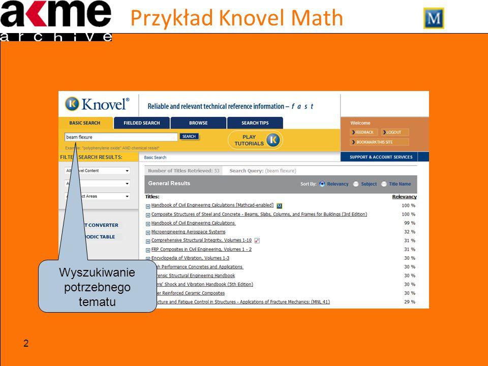 Przykład Knovel Math 2 Wyszukiwanie potrzebnego tematu