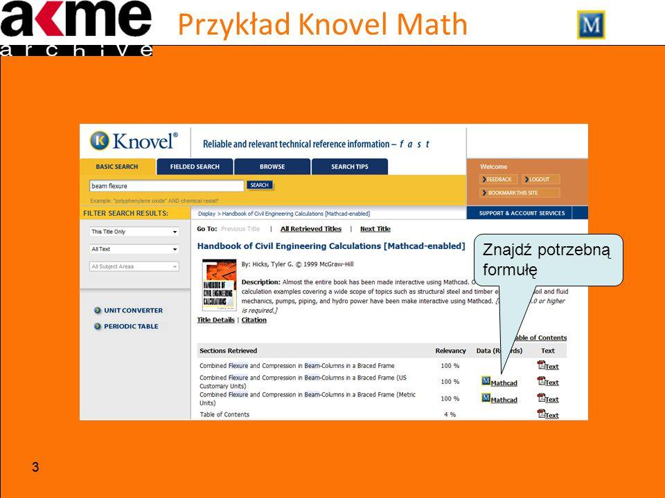 Przykład Knovel Math 33 Znajdź potrzebną formułę