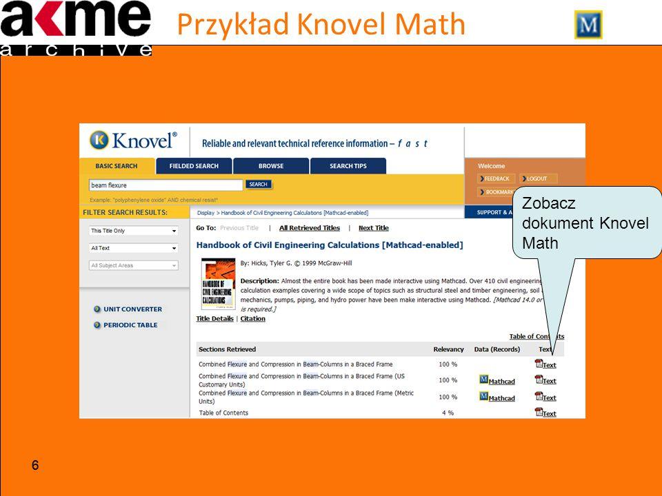 Przykład Knovel Math 66 Zobacz dokument Knovel Math