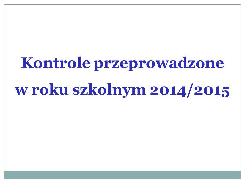 Kontrole przeprowadzone w roku szkolnym 2014/2015