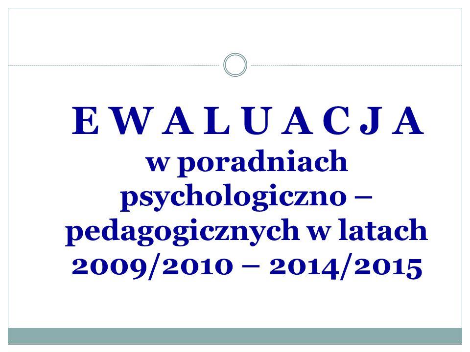 E W A L U A C J A w poradniach psychologiczno – pedagogicznych w latach 2009/2010 – 2014/2015