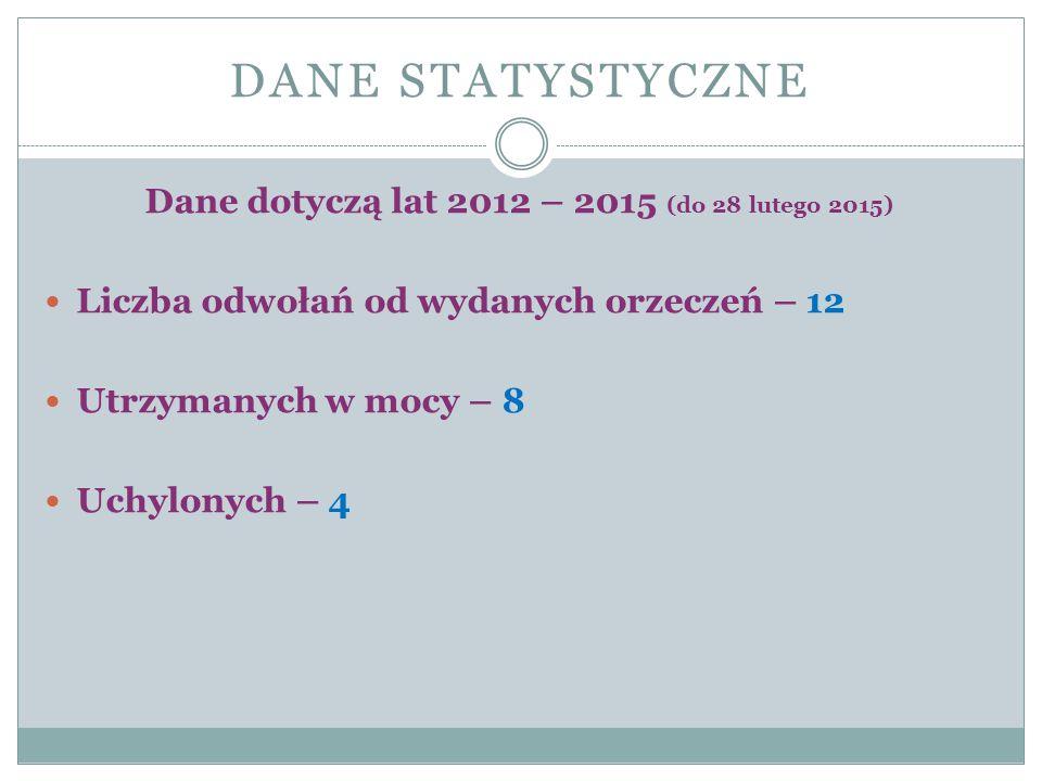 DANE STATYSTYCZNE Dane dotyczą lat 2012 – 2015 (do 28 lutego 2015) Liczba odwołań od wydanych orzeczeń – 12 Utrzymanych w mocy – 8 Uchylonych – 4