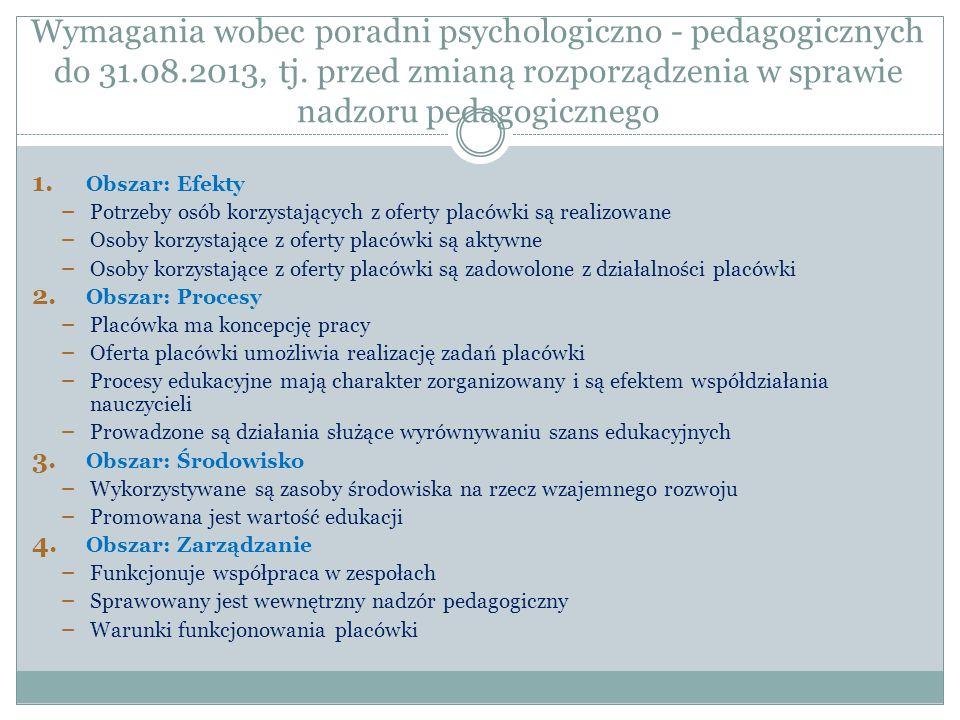 Wymagania wobec poradni psychologiczno - pedagogicznych do 31.08.2013, tj. przed zmianą rozporządzenia w sprawie nadzoru pedagogicznego 1. Obszar: Efe