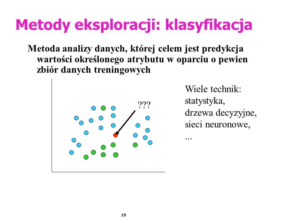19 Metody eksploracji: klasyfikacja Metoda analizy danych, której celem jest predykcja wartości określonego atrybutu w oparciu o pewien zbiór danych treningowych Wiele technik: statystyka, drzewa decyzyjne, sieci neuronowe,...