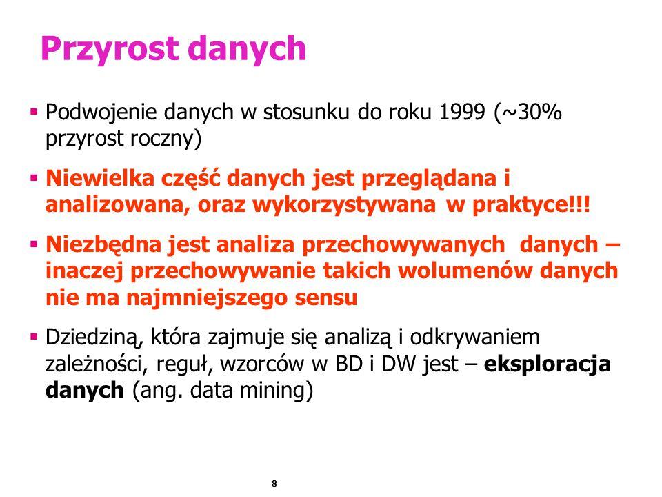 8 Przyrost danych  Podwojenie danych w stosunku do roku 1999 (~30% przyrost roczny)  Niewielka część danych jest przeglądana i analizowana, oraz wyk