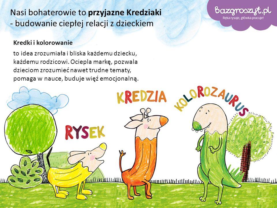 Nasi bohaterowie to przyjazne Kredziaki - budowanie ciepłej relacji z dzieckiem Kredki i kolorowanie to idea zrozumiała i bliska każdemu dziecku, każdemu rodzicowi.