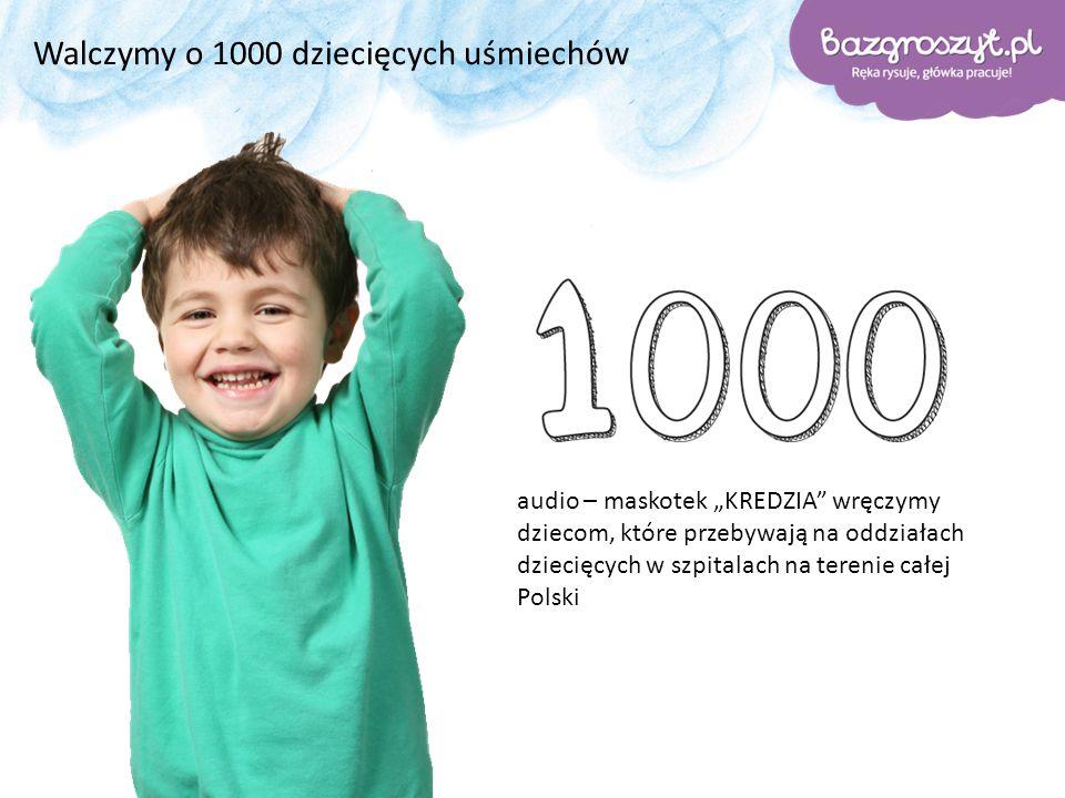 """Walczymy o 1000 dziecięcych uśmiechów audio – maskotek """"KREDZIA wręczymy dziecom, które przebywają na oddziałach dziecięcych w szpitalach na terenie całej Polski"""