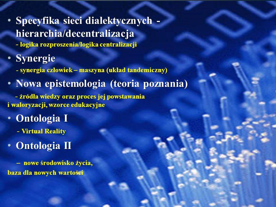 Specyfika sieci dialektycznych - hierarchia/decentralizacja - logika rozproszenia/logika centralizacji Specyfika sieci dialektycznych - hierarchia/dec