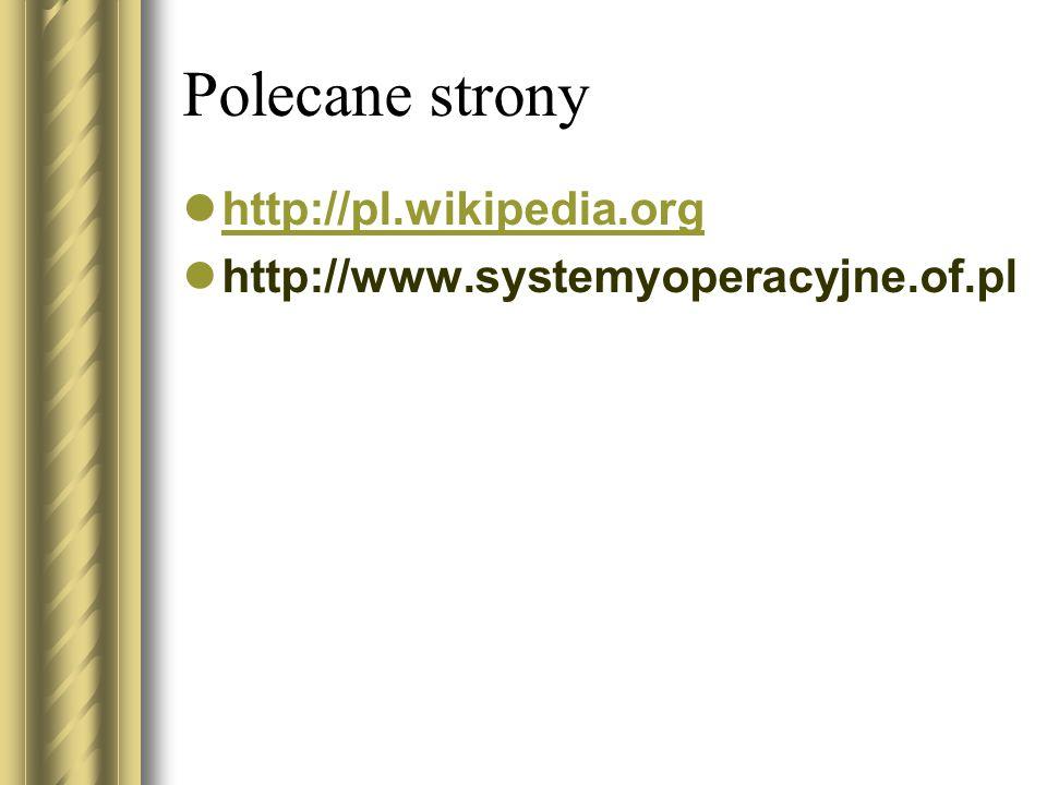 Polecane strony http://pl.wikipedia.org http://www.systemyoperacyjne.of.pl